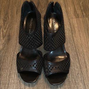 Franco Sarto black peep toe heels *worn once*